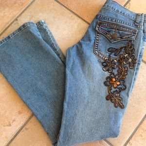 Women's Jean pants 26 bootcut back floral sequence